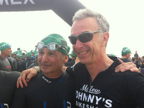 Linus e Aldo Rock prima della partenza Ironman 2012 Pescara
