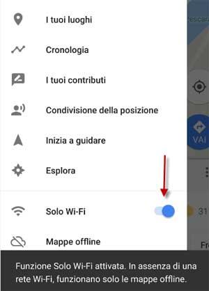 solo su rete Wi-fi