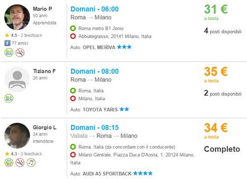 blablacar Roma Milano
