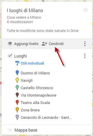condivisione mappa
