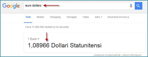 converti valuta google