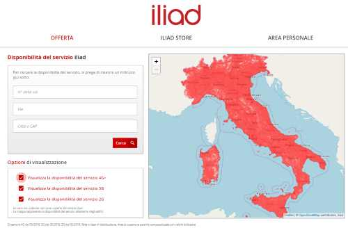 copertura Iliad