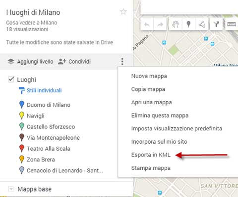 esporta mappa