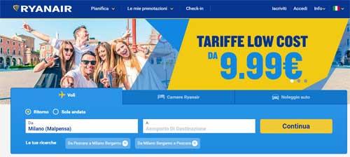 homepage sito Ryanair