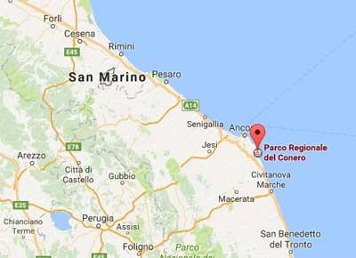 Mappa zona Conero