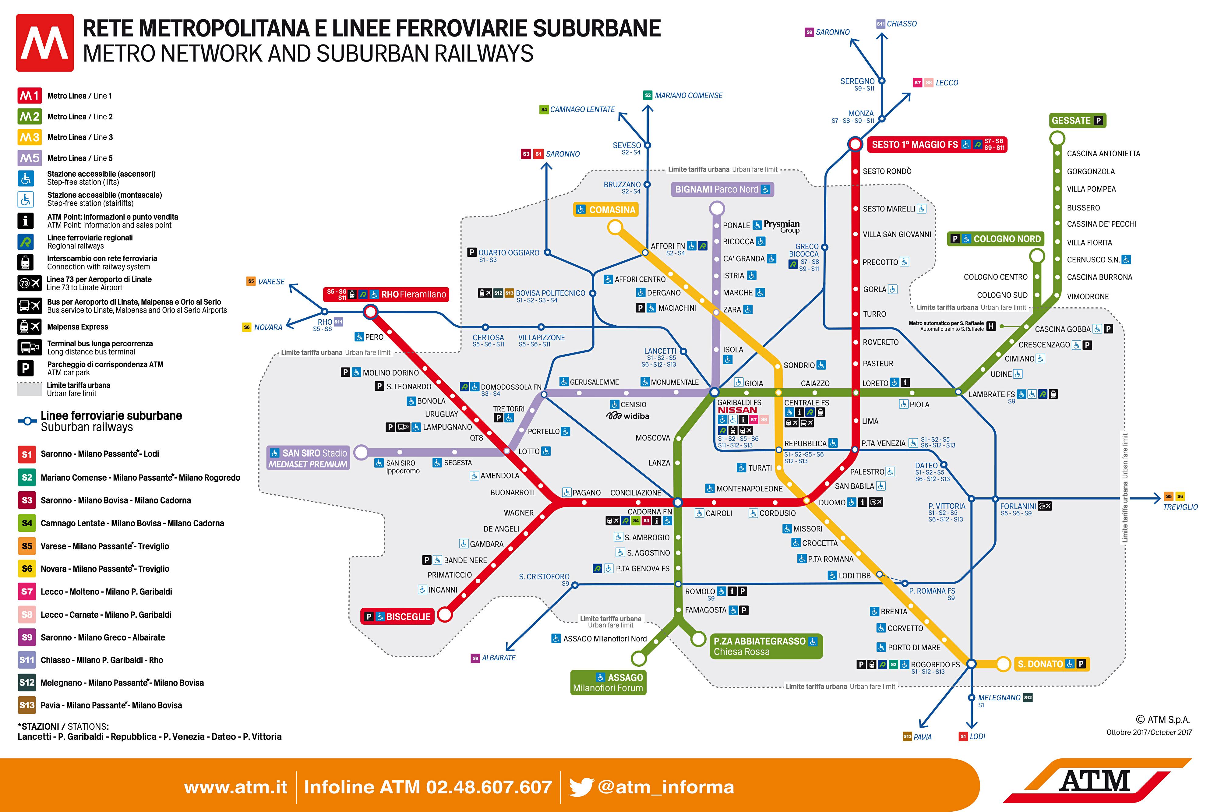 Mappa metro di Milano, linee rossa, lilla, verde e gialla, guida percorsi ATM di Milano