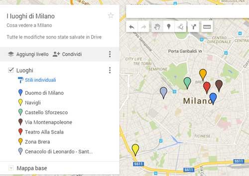 Mappa luoghi di Milano.