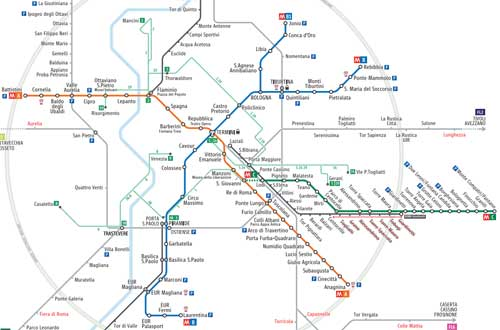 Cartina Metropolitana Roma Pdf.Mappa Metro Di Roma Linea A Arancione Linea B Blu Guida Percorsi Atac Di Roma