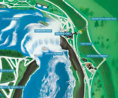 mappa cascate versante canadese