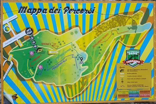 mappa del parco avventura di Pineto