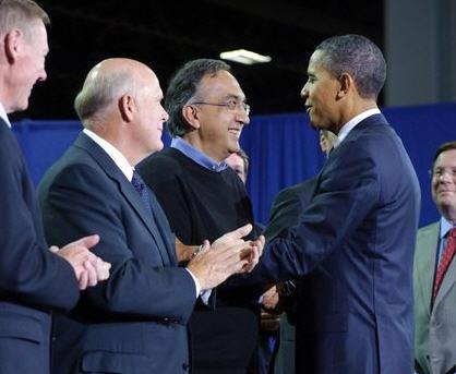 Marchionne con il presidente degli Stati Uniti Obama