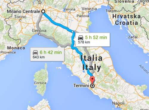 mappa strada milano roma