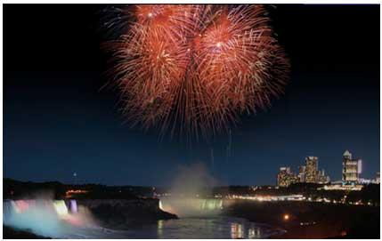 fuochi d'artificio sulle cascate niagara