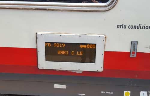 numero carrozza treno