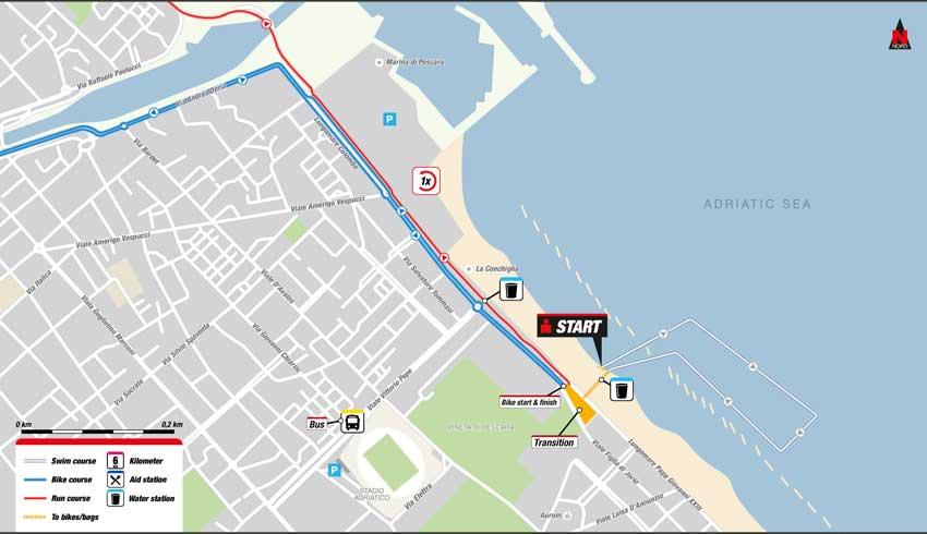 mappa percorso di nuoto Ironman 2016 Italia