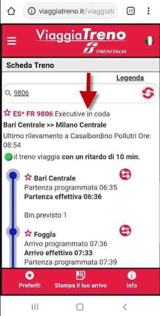 posizione carrozza trenitalia con viaggia treno
