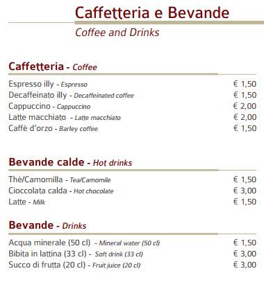 prezzi bevande