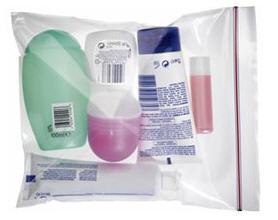 Busta di plastica per liquidi aereo