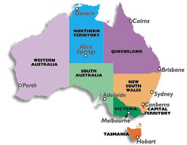 Mappa fusi orari Australia
