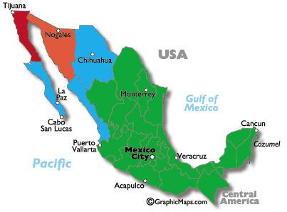Mappa fusi orari Messico