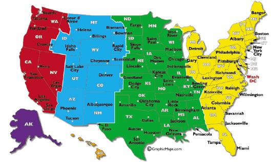 Mappa fusi orari USA