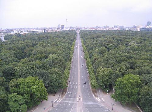 Vista del parco di Tiergarten dalla cima della Colonna