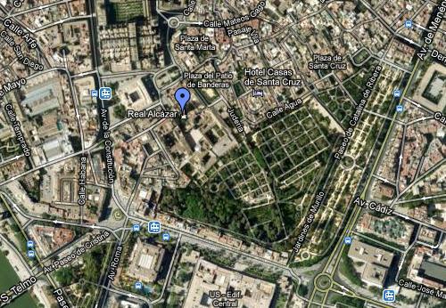 Foto dal satellite dell'Alcazar - Siviglia
